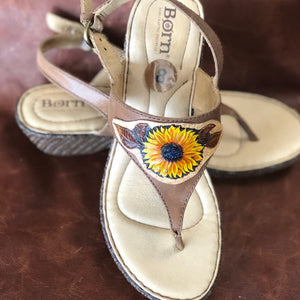 Sunflower Sandals, Born with a Sunflower applique  Size 8