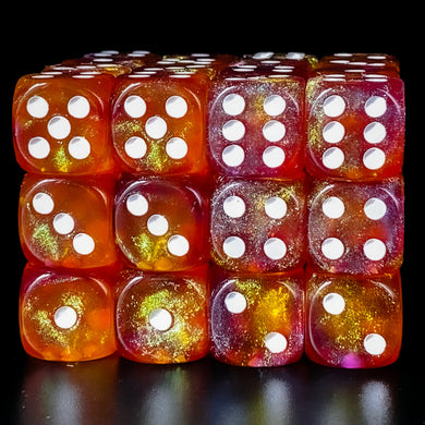 Udixi: Purple & Orange 16mm Pip Glitter Dice (Single)