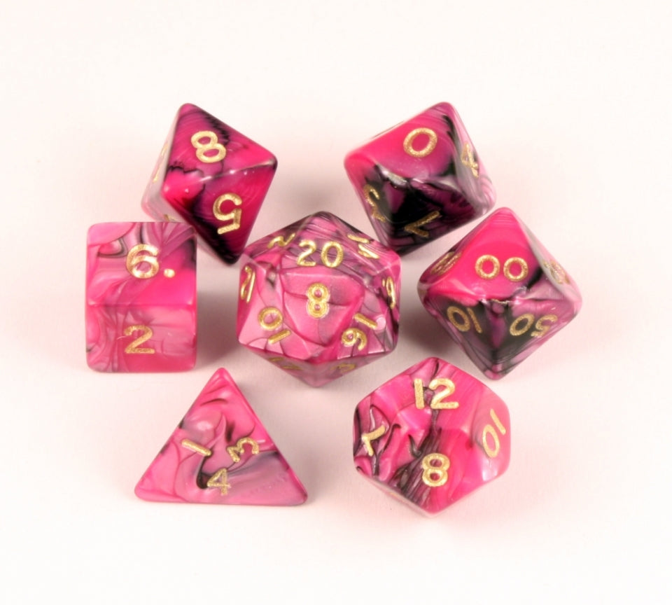 7 Piece Fantasy Toxic Black/Pink Dice