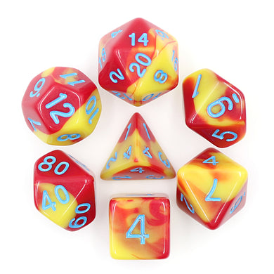 HD Dice: Red+Yellow with Blue Blend Dice