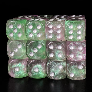 Udixi: Pink & Green 16mm Pip Glitter Dice (Single)