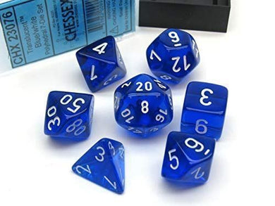 CHX23076: Blue/white Translucent Polyhedral 7-Die Set