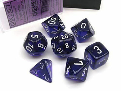 CHX23077: Purple/white Translucent Polyhedral 7-Die Set
