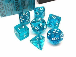 CHX23085: Teal/white Translucent Polyhedral 7-Die Set