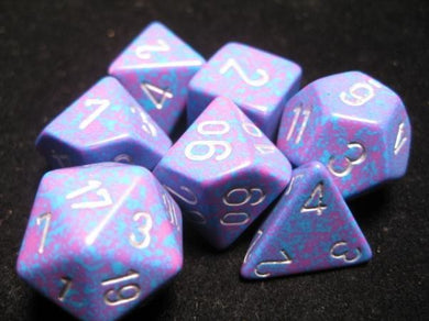 CHX25347: Silver Tetra Speckled Polyhedral 7-Die Set