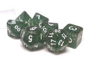 Koplow glitter, translucent 7 set polyhedral dice, green