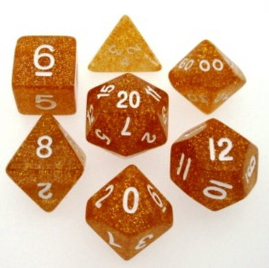 Koplow glitter, translucent 7 set polyhedral dice, yellow