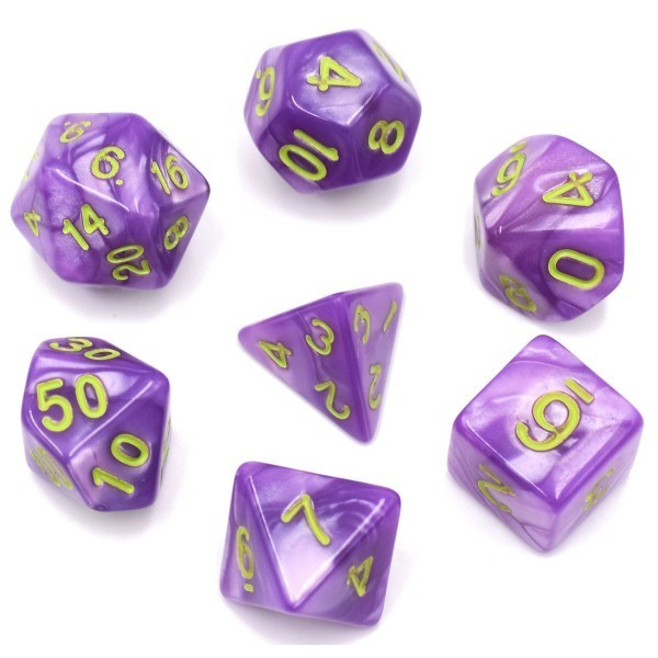 HD Dice Light Purple Pearl Dice with Green Font