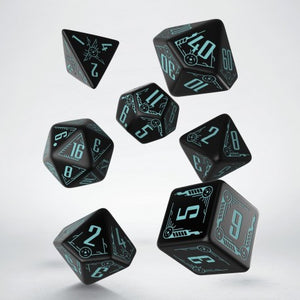 Q Workshop Black & Blue Galactic Dice Set