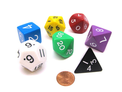Koplow jumbo, opaque, 7 set Polyhedral dice, Assorted colours