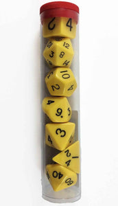 Koplow jumbo, opaque, 7 set polyhedral dice, yellow