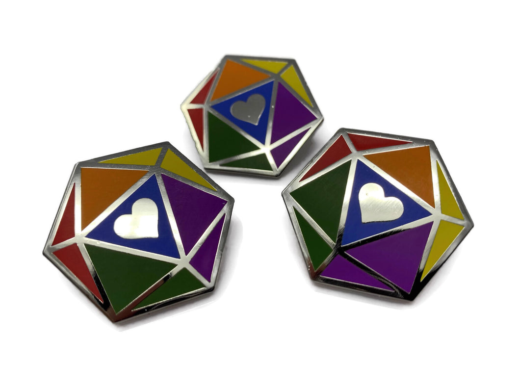 HeartBeat Dice: Rainbow Pride Pin