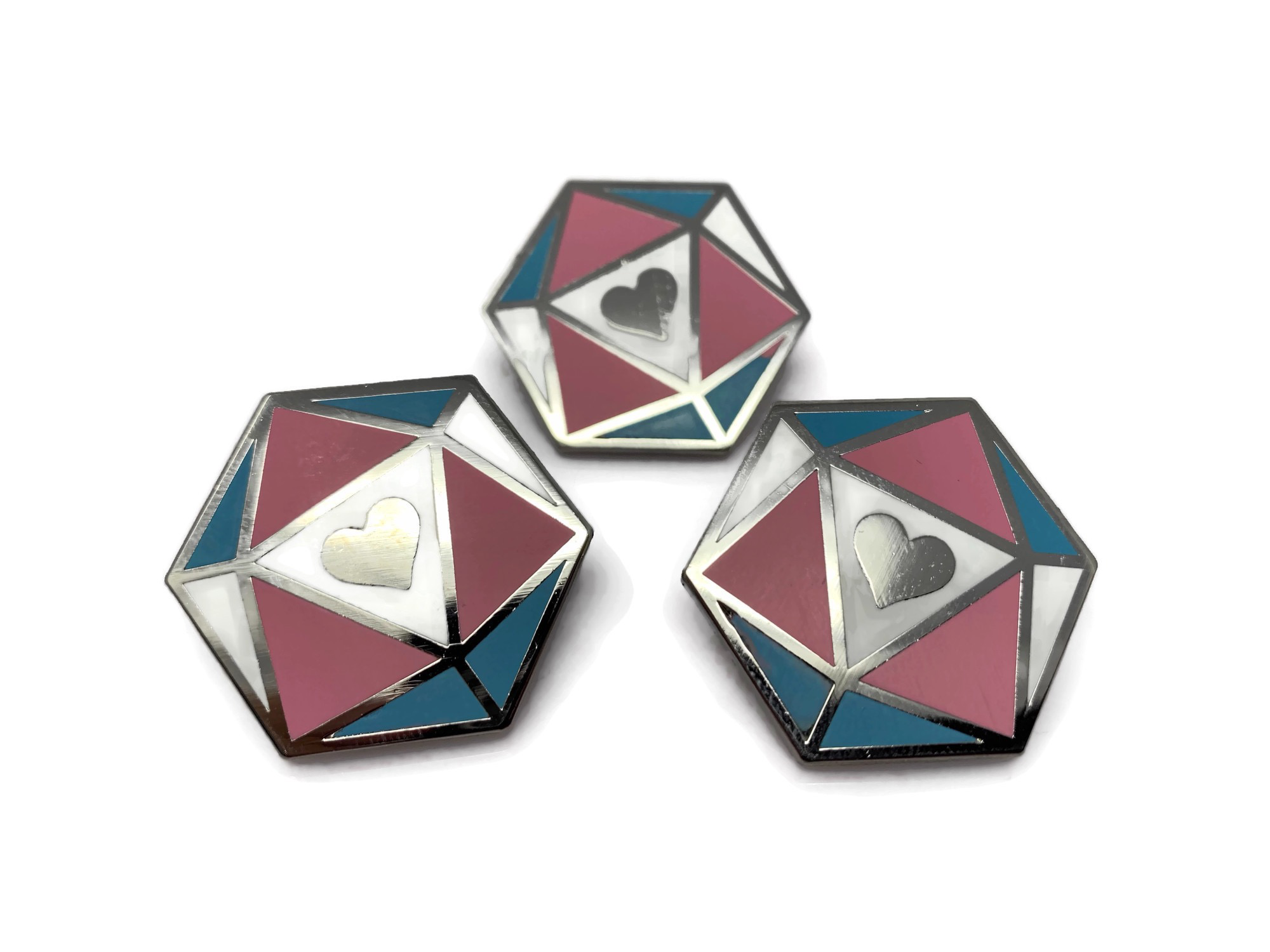 HeartBeat Dice: Transgender Pride Pin