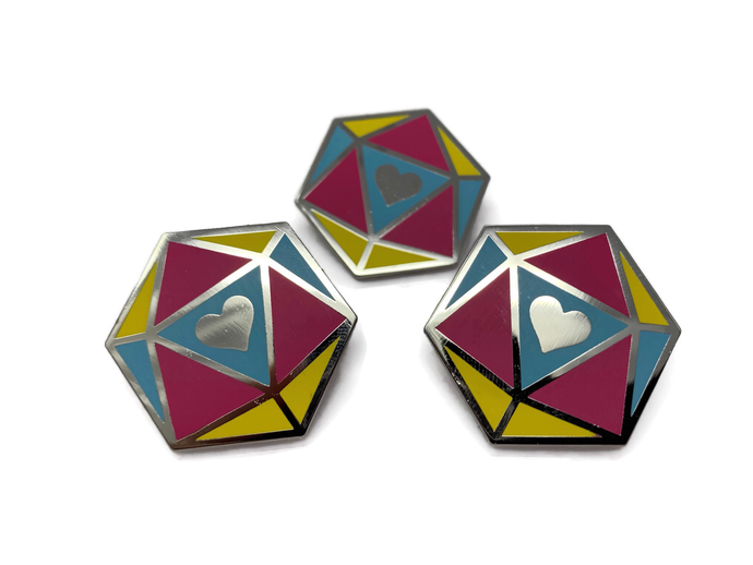 HeartBeat Dice: Pansexual Pride Pin