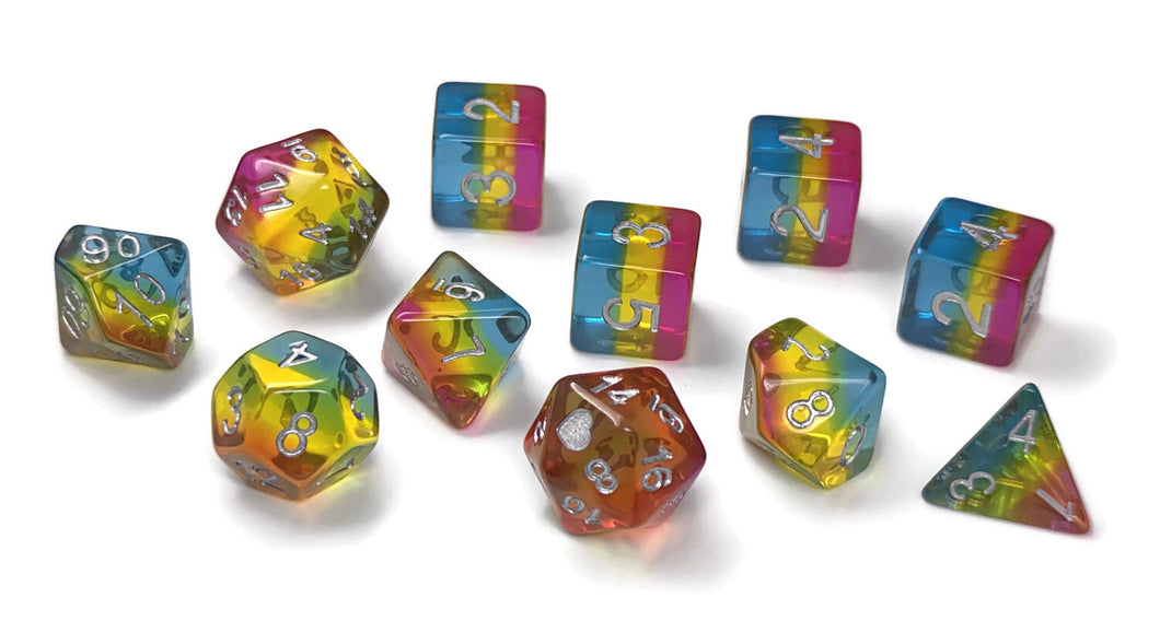 HeartBeat Dice: Translucent Pansexual Pride Set