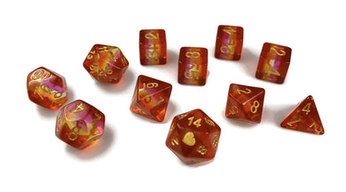 HeartBeat Dice: Translucent Community Lesbian Pride Set