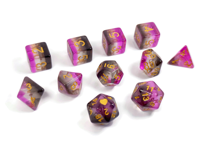 HeartBeat Dice: Translucent Asexual Pride Set