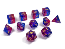Load image into Gallery viewer, HeartBeat Dice: Translucent Bisexual Pride Set