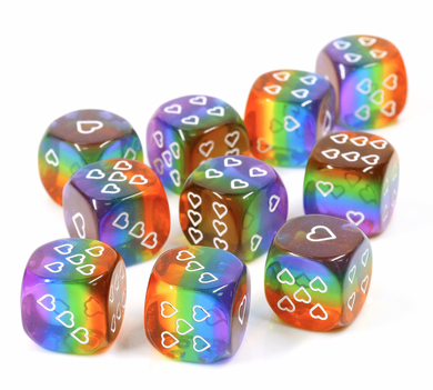 HeartBeat Dice: Translucent Rainbow Pride D6 Heart Dice 16mm (Set of 6 dice)