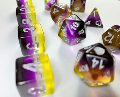 HeartBeat Dice: NonBinary Translucent Pride Set