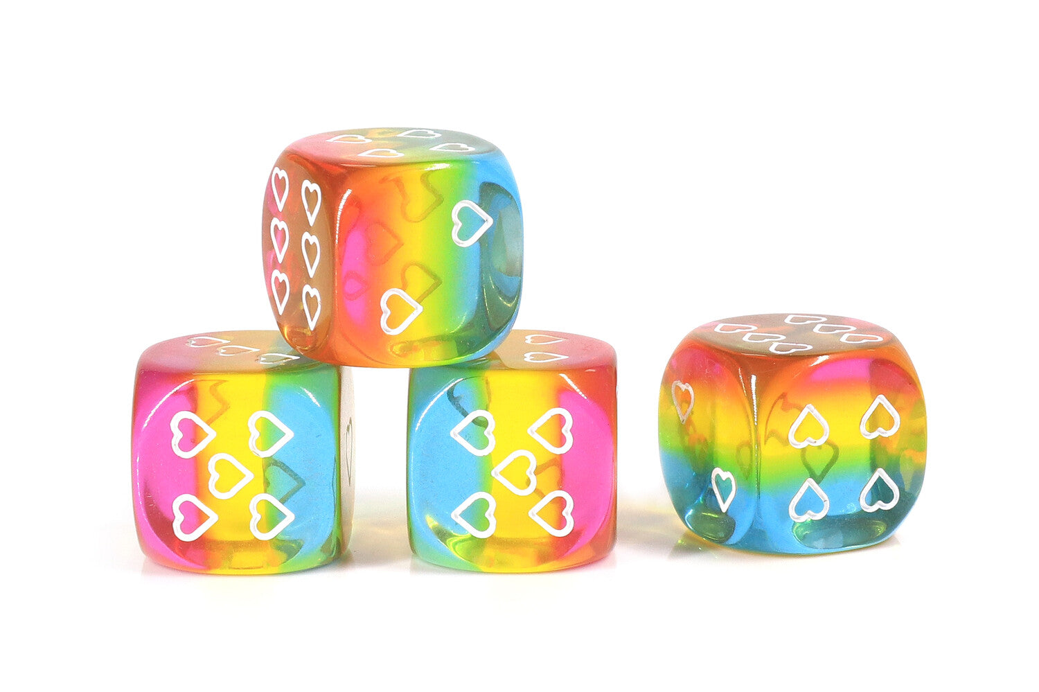 HeartBeat Dice: Translucent Pansexual Pride D6 Heart Dice 16mm (Set of 6 dice)