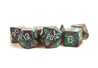 MDG Polyhedral Acrylic Dice Set 16mm - Stardust Gray with Silver Numbers