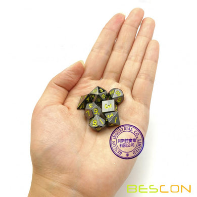 Bescon Dice: Mini Metal Glossy Black w/Yellow Polyhedral Set