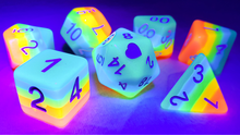 Load image into Gallery viewer, HeartBeat Dice: Glow in the Dark Neon Rainbow Pride Dice Set