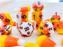Load image into Gallery viewer, HeartBeat Dice: Candy Corn Dice Set