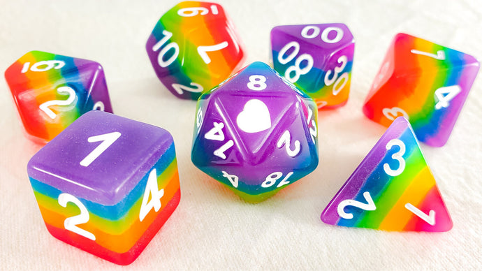 HeartBeat Dice: Glow in the Dark Neon Rainbow Pride Dice Set