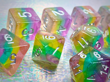 Load image into Gallery viewer, HeartBeat Dice: Translucent Pastel Rainbow Pride Set