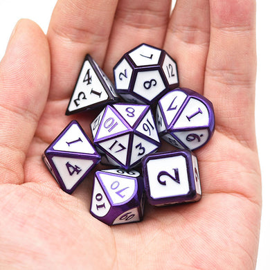 Udixi: Purple/Dark Blue metal dice with white enamel