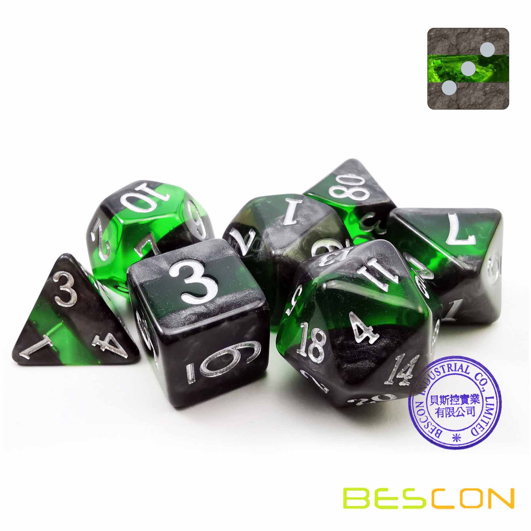 Bescon Dice: Emerald Mineral Rocks Gem Vines Dice Set