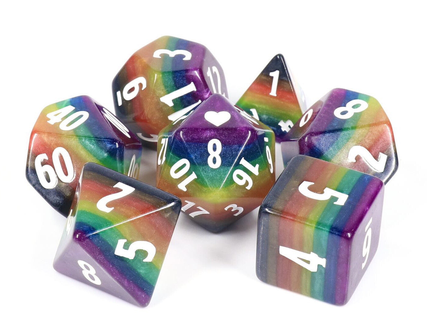 HeartBeat Dice: Colossal Philly Rainbow Pride Set