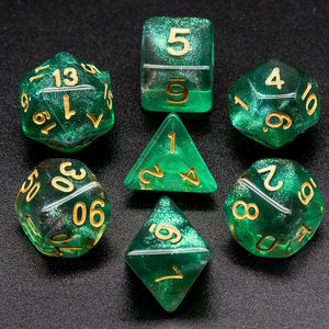 Udixi: Green & Grey Glitter Dice (Gold Numbers)