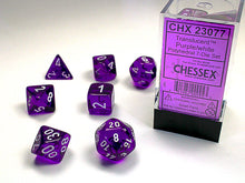 Load image into Gallery viewer, CHX23077: Purple/white Translucent Polyhedral 7-Die Set