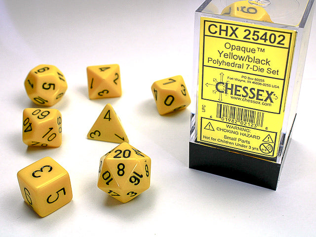 CHX25402: Yellow/Black Opaque Polyhedral 7 Dice Set