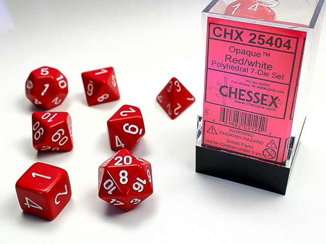 CHX25404: Red/White Opaque Polyhedral 7 Dice Set