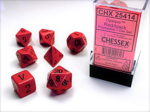 CHX25414: Red/Black Opaque Polyhedral 7 Dice Set