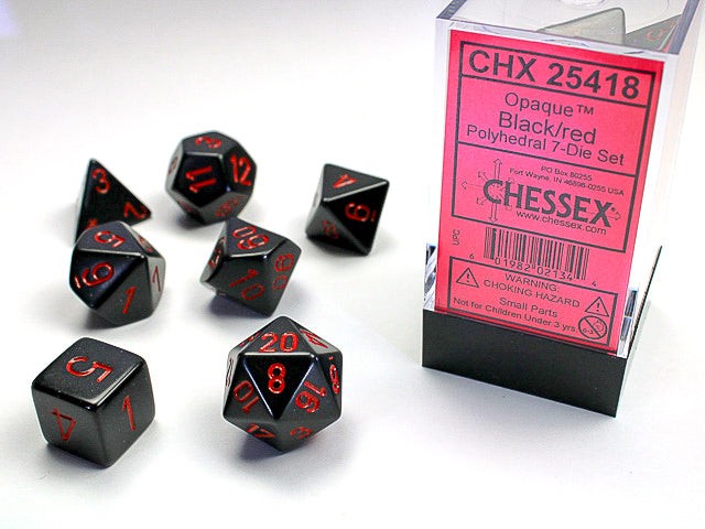 CHX25418: Black/Red Opaque Polyhedral 7 Dice Set