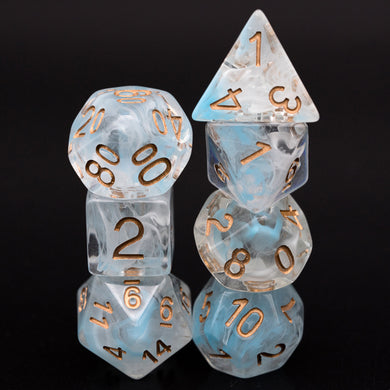 Udixi: Cyan and White Smoke Swirl Dice