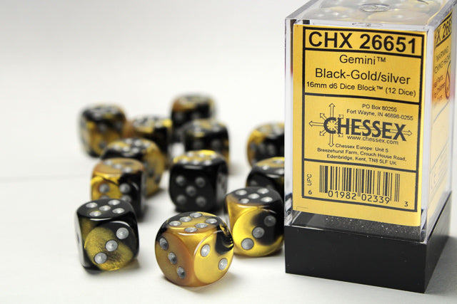 CHX26651: Gemini Black-Gold/Silver 16mm d6 Dice Block (12 dice)
