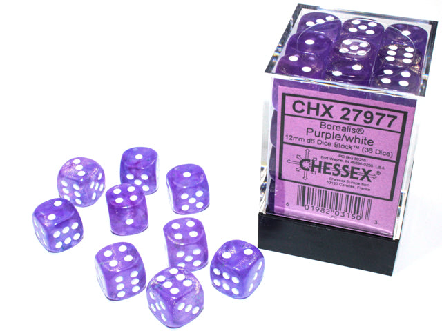 CHX27977 Luminary Borealis Purple/white Dice 12mm d6 Block (36 dice)