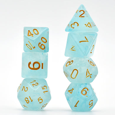 Udixi: Cyan Brushed Silk Translucent Dice