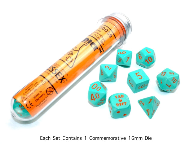 CHX30039: Heavy Dice Turquoise/orange 7-Die Set