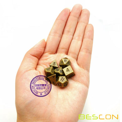 Bescon Dice: Mini Metal Ancient Brass Polyhedral Set