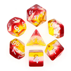 HD Dice: Red+White+Yellow Transparent Layered Dice