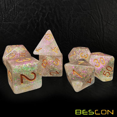 Bescon Dice: Rose-Golden Shimmery Dice Set
