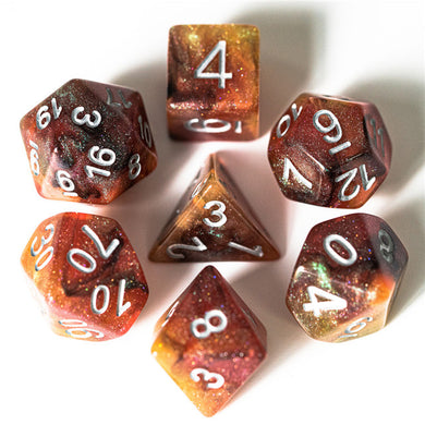 Udixi: Orange & Black & Yellow & Red Galaxy Dice (Silver Numbers)
