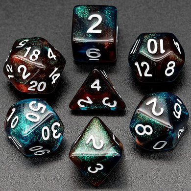 Udixi: Red & Blue Glitter Dice (white font)